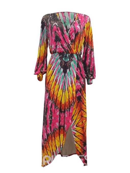 Ericdress Print Fashion V-Neck Lantern Sleeve A-Line Dress