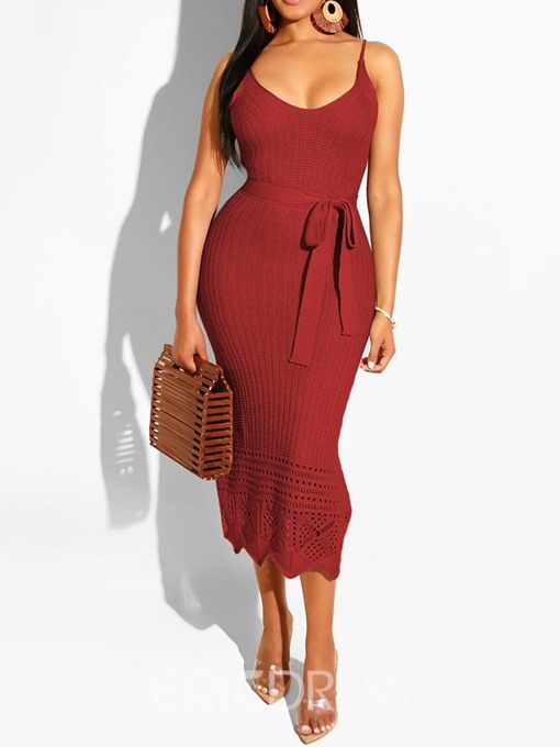 Ericdress Sleeveless Lace-Up Mid-Calf Spaghetti Strap Bodycon Dress