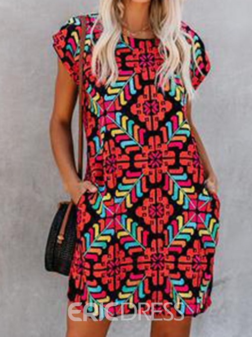 Ericdress African Fashion Pocket Above Knee Cap Sleeve Casual Dress