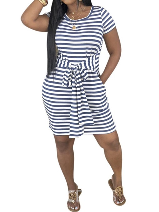 Ericdress Short Sleeve Round Neck Above Knee Striped Mid Waist Dress