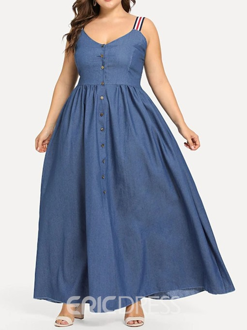Ericdress Plus Size Pleated Ankle-Length Sleeveless Denim Plain Dress