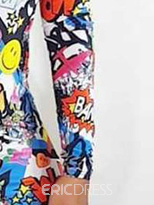 Ericdress Above Knee Round Neck Print Casual Cartoon Dress