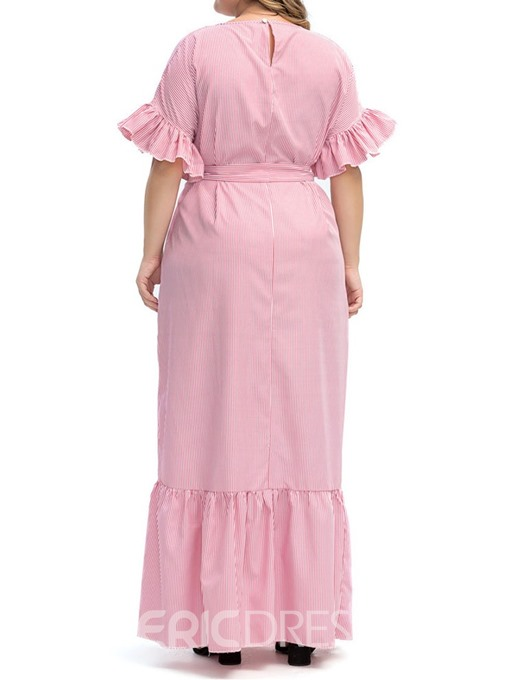 Ericdress A-Line Ankle-Length Round Neck Stringy Selvedge Plus Size Sweet Dress