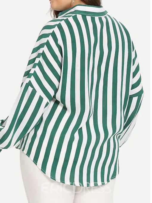 Ericdress Color Block Stripe Lapel Button Plus Size Blouse