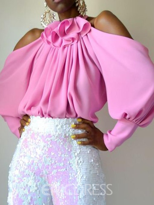 Ericdress African Fashion Off-Shoulder Pleated Lantern Sleeve Blouse