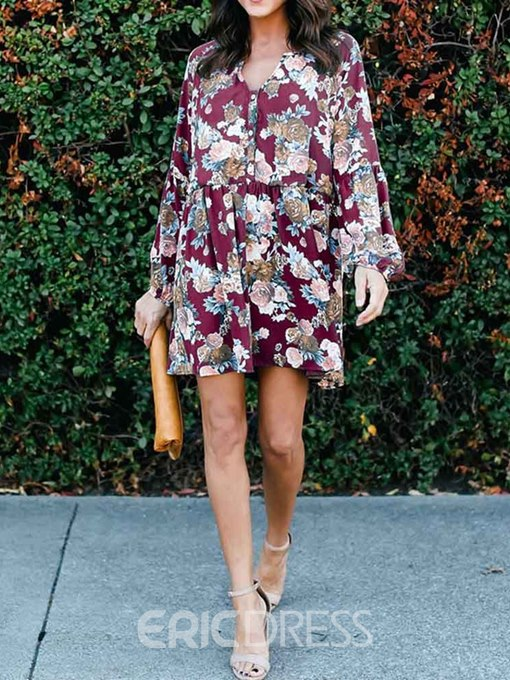 Ericdress Lantern Sleeve V-Neck Above Knee Regular Floral Dress