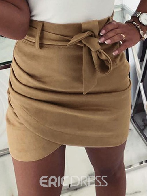 Ericdress A-Line Lace-Up Office Lady Plain Mini Skirt
