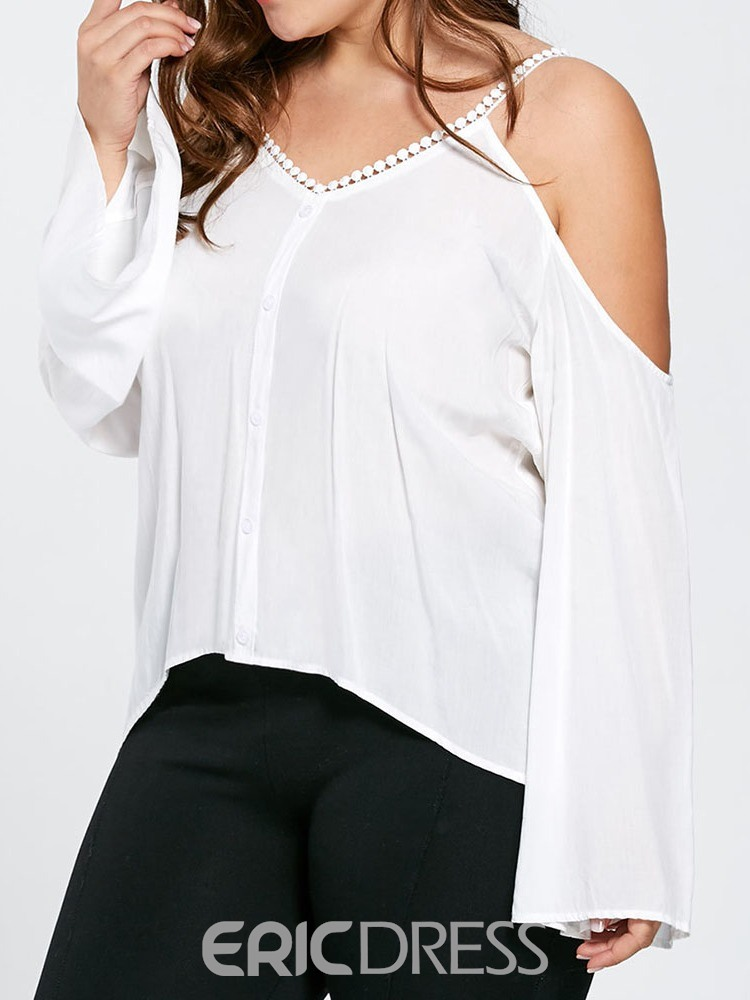 Ericdress Plus Size Flare Sleeve V-Neck Backless Blouse