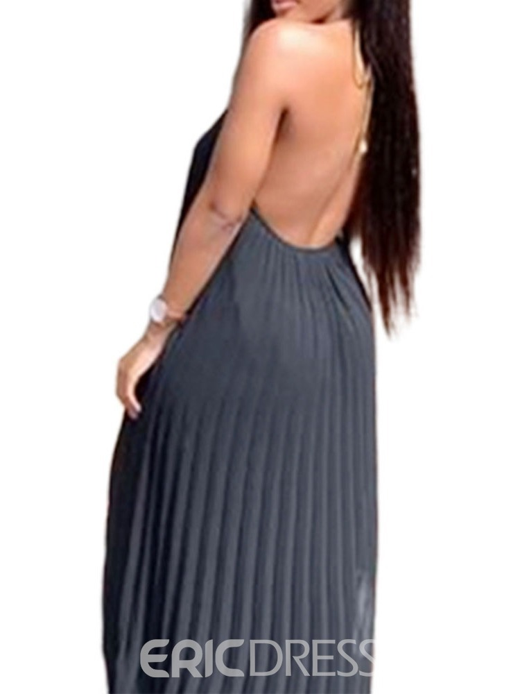 Ericdress Floor-Length Backless Pullover Pleated Sleeveless Maxi Dress