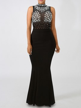 Ericdress Floor-Length Diamond Sleeveless Sexy Plain Bodycon Dress