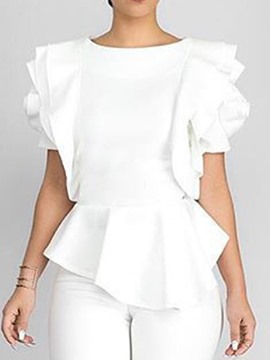 Ericdress Asymmetric Petal Sleeve Fashion Blouse