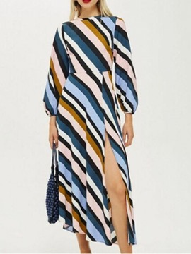 Ericdress Round Neck Mid-Calf Striped Mid Waist Pullover Dress