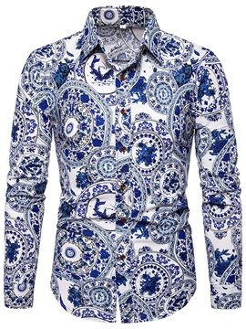 Ericdress Print Floral Fashion Mens Single-Breasted Shirt