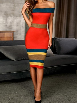 Ericdress Patchwork Off Shoulder Knee-Length Bodycon Stripe Dress