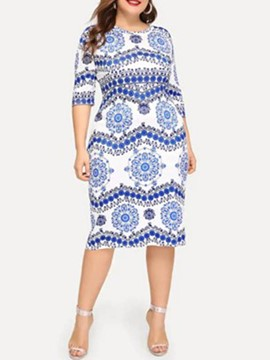 Ericdress Plus Size Mid-Calf Half Sleeve African Fashion Pullover Dress