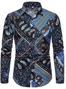 Ericdress Fashion Lapel Floral Slim Mens Shirt