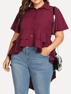 Ericdress Asymmetric Swallowtail Button Plus Size Blouse