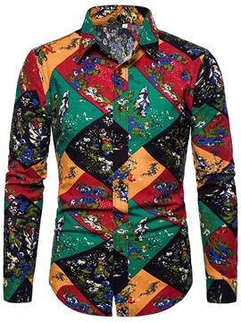 Ericdress Lapel Print Fashion Single-Breasted Mens Shirt