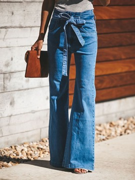 Ericdress Belt Plain Slim Flare Jeans