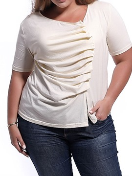 Ericdress Pleated Split Plain Plus Size Short Sleeve T-Shirt