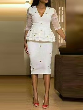 Ericdress Mesh Plain Office Lady Bodycon Shirt And Skirt Two Piece Sets