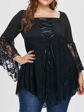Ericdress Patchwork Lace Plus Size Lace-Up Blouse