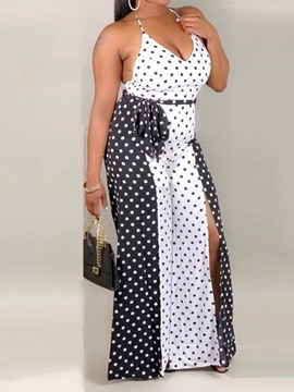 Ericdress Split Color Block Polka Dots Slim Jumpsuit