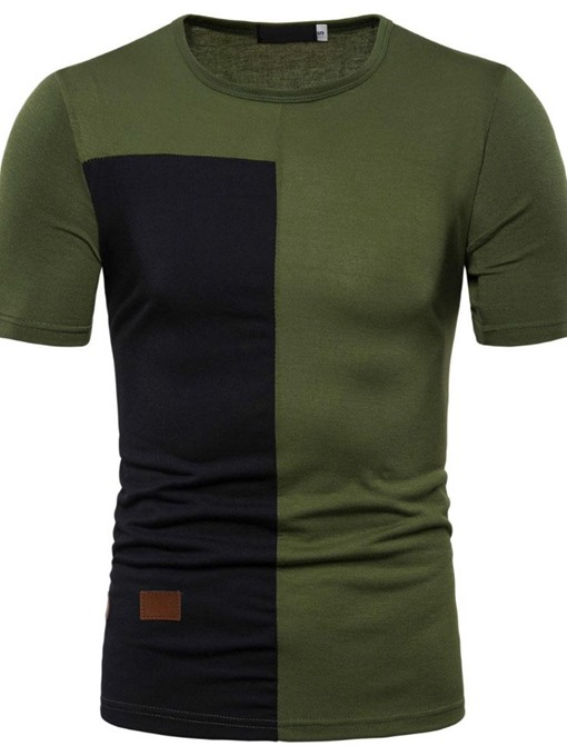 Ericdress Round Neck Color Block Casual Mens T-shirt