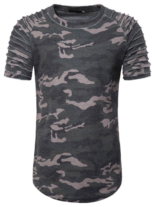 Ericdress Casual Camouflage Pleated Mens Slim T-shirt