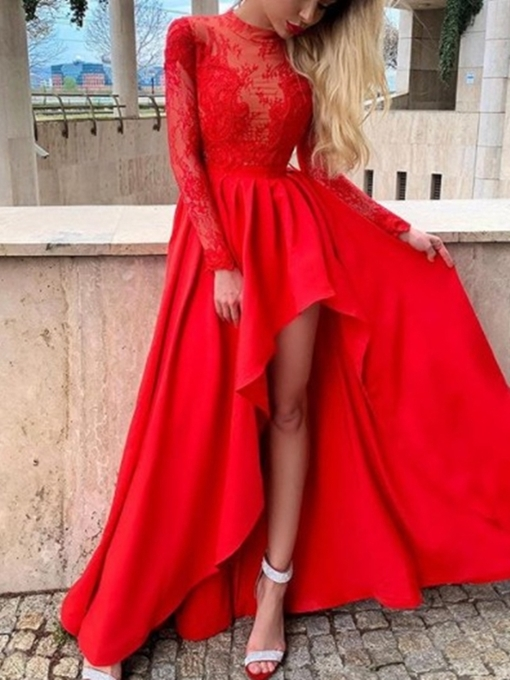 Ericdress High Neck A-Line Long Sleeves Lace Prom Dress