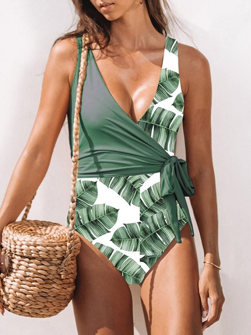 Ericdress Plant Color Block Lace-Up Swimwear