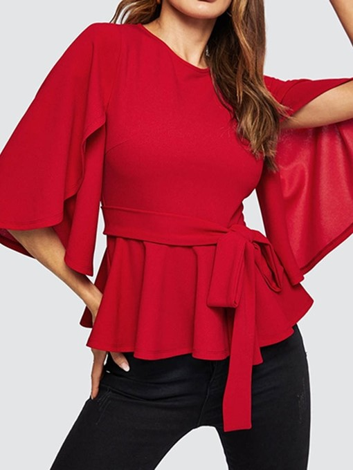 Ericdress Bowknot Lace-Up Flare Sleeve Fashion Blouse
