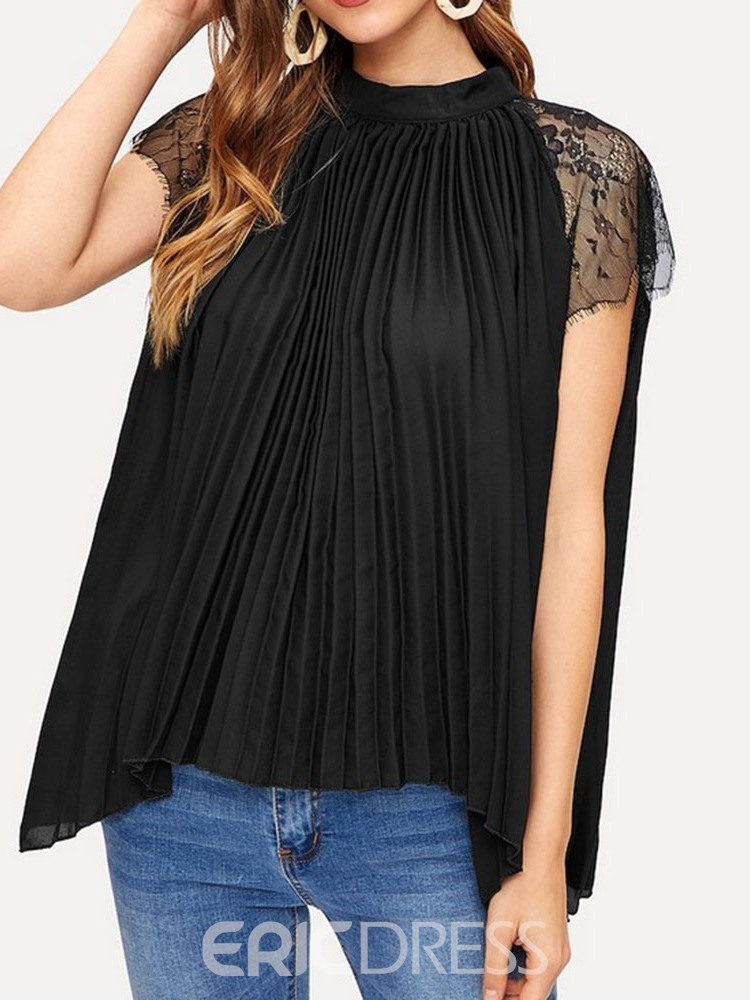 Ericdress Pleated Patchwork Lace Short Sleeve Blouse