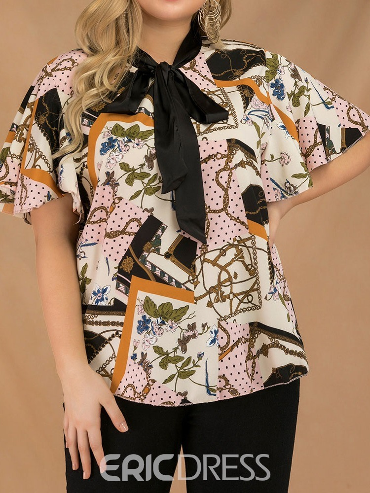 Ericdress Color Block Bowknot Plus Size Flare Sleeve Blouse