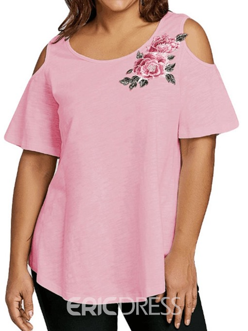 Ericdress Embroidery Floral Plus Size T-Shirt