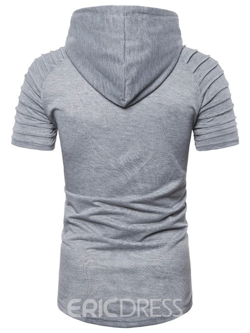 Ericdress Casual Pleated Plain Mens Loose T-shirt