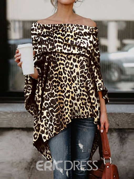Ericdress Off Shoulder Asymmetric Leopard Slim Blouse