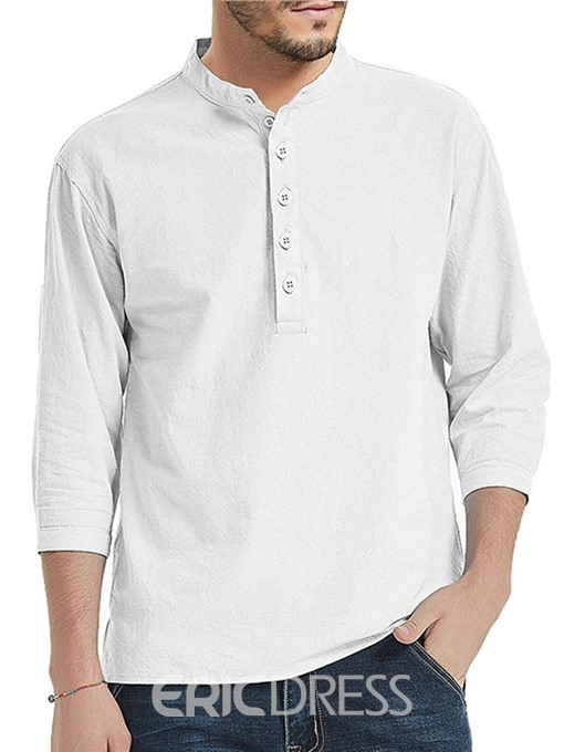 Ericdress Casual Stand Collar Button Mens Loose Shirt