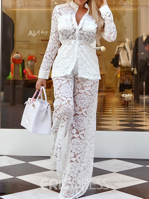 Ericdress Office Lady Pocket Single-Breasted Lace Shirt And Pants Two Piece Sets
