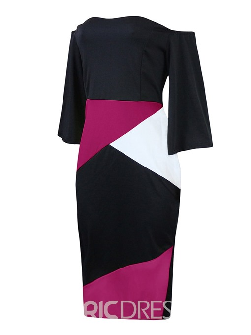 Ericdress Lantern Sleeve Patchwork Off Shoulder Bodycon Color Block Dress