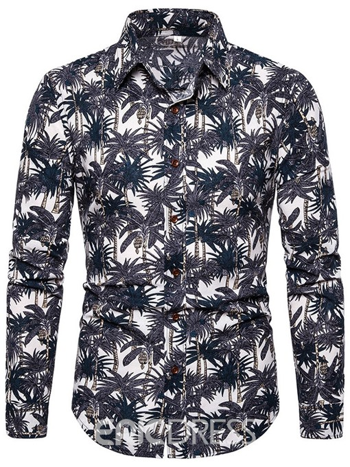 Ericdress Print Fashion Lapel Slim Mens Single-Breasted Shirt