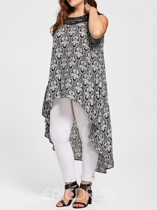 Ericdress Patchwork Plus Size Print Lace Tank Top