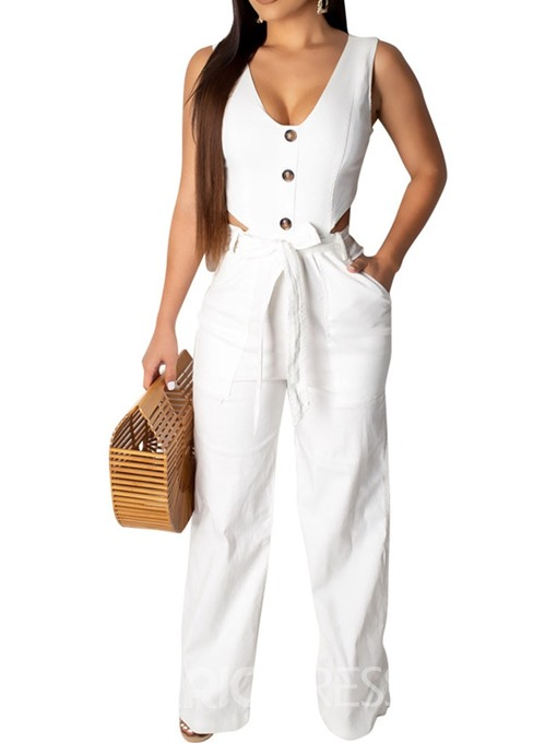 Ericdress Plain Button Lace-Up Dressy Office Lady Slim Jumpsuit
