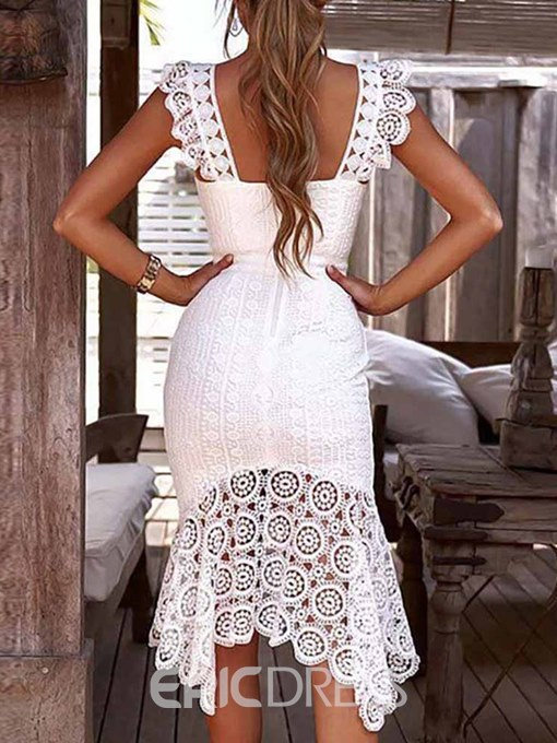 Ericdress Lace Asymmetric Mid-Calf Mermaid Pullover Dress