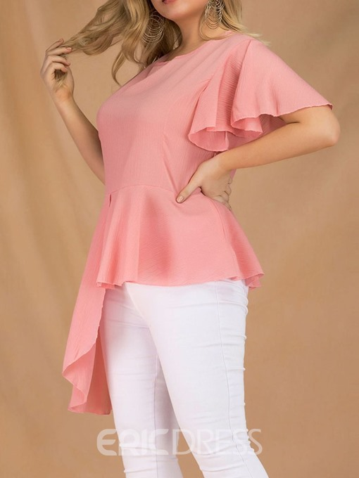 Ericdress Asymmetric Ruffles Plain Plus Size Blouse