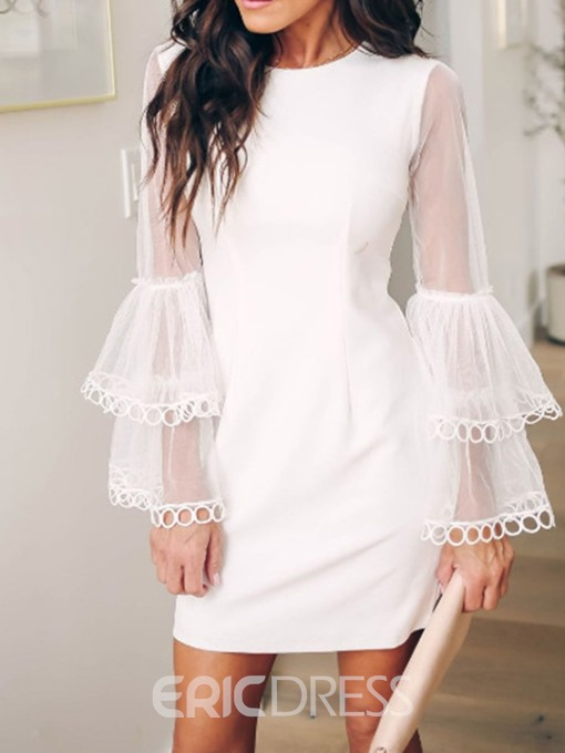 Ericdress Above Knee Patchwork Patchwork Flare Sleeve Sweet Dress