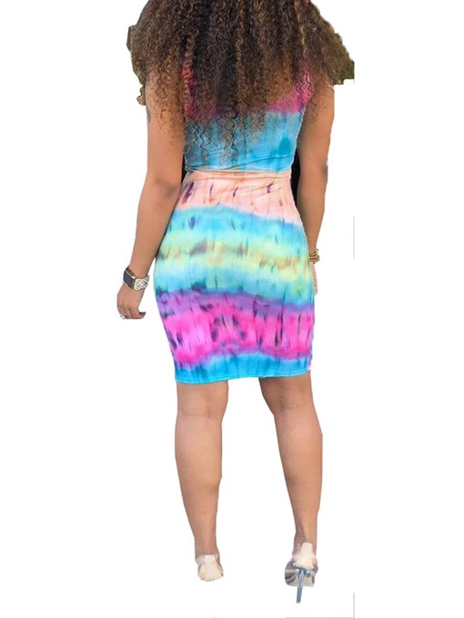 Ericdress Sleeveless Above Knee Tie-Dye Bodycon Tie-Dye Dress