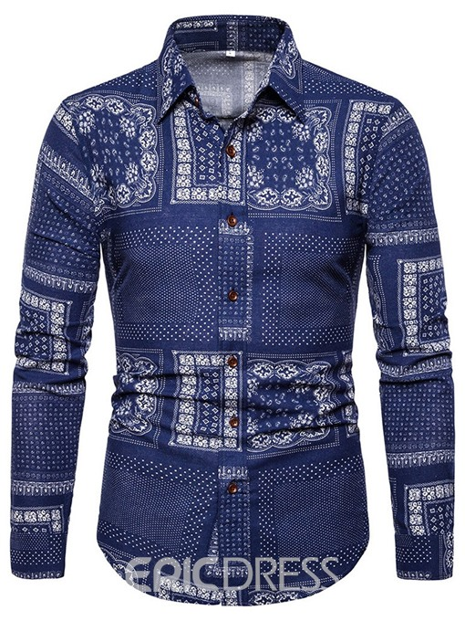 Ericdress Print Floral Lapel Single-Breasted Mens Shirt