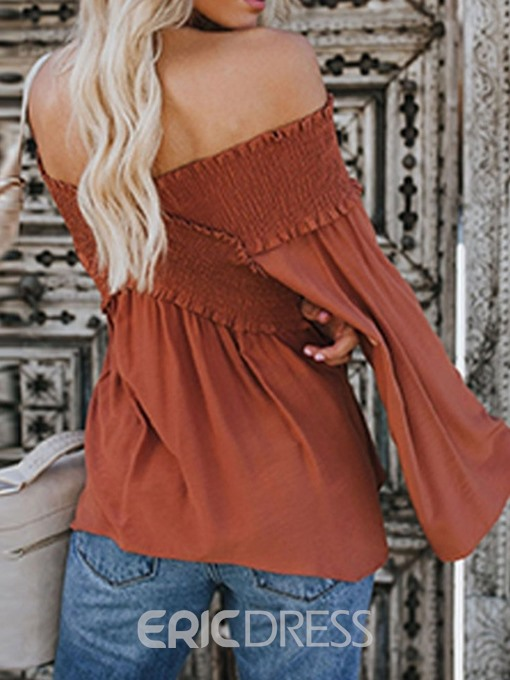 Ericdress Pleated Plain Off-Shoulder Lantern Sleeve Blouse
