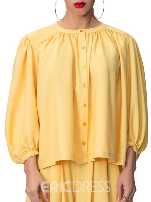 Ericdress Plain Button Lantern Sleeve Casual Blouse